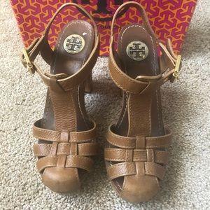 Tory Burch Brown Leather Platform Heels (6.5)